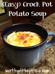 Paula Deen (Easy) Crock Pot Potato Soup: 1 (30 oz.) bag frozen hash-brown potatoes; 2 (14 oz.) cans chicken broth; 1 (10.75 oz.) can cream of chicken soup; 1/2c chopped onion; 1/3 tsp ground black pepper; 1 (8oz) pkg cream cheese (softened). Garnish: minced green onion.
