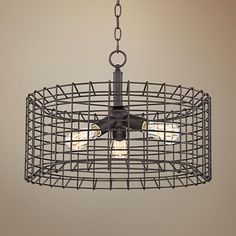Vintage style bulbs add to the rustic industrial appeal of this metal cage pendant light. wide x 14 high. Canopy is 5 wide. Style # at Lamps Plus. Bronze Pendant Light, Cage Pendant Light, Pendant Light Fixtures, Pendant Lighting, Old Bar, Foyer Lighting, Contemporary Chandelier, Glass Chandelier, Chandeliers