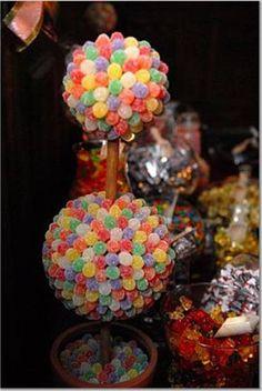 candy center pieces: Detalle de la rama para pasar de una esfera a la otra