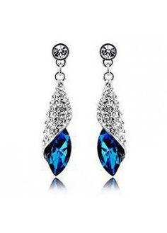 Rhinestone Embellished Silver Metal Earrings for Woman on sale only US$6.42 now, buy cheap Rhinestone Embellished Silver Metal Earrings for Woman at liligal.com