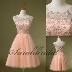 2014 Blush Formal Short Homecoming Dresses Beading Prom Party Gowns Size 2/4/6/8 #handmade #Formal #dress: