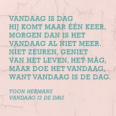Vandaag is de dag - I ♥ Eco The Words, More Than Words, Cool Words, Favorite Quotes, Best Quotes, Funny Quotes, Dutch Words, Words Quotes, Sayings