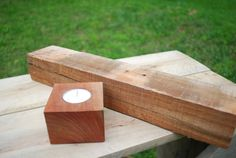 Wooden Tea Light Candle Holder From Cherry Pallet Wood $15