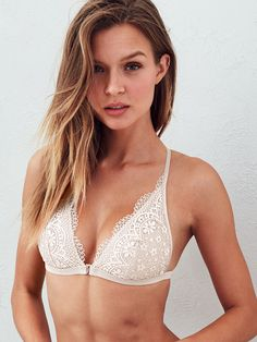 This coconut-white bralette is basically the best thing that's ever happened to sun-kissed skin. | Victoria's Secret Front-close Bralette
