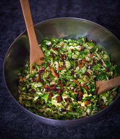 Food Fitness Fresh Air: Shaved Brussels Sprout Salad with Vegan Coconut Bacon