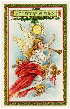 Free Digital Vintage Christmas Postcard ~ Angels