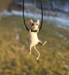 Tiny Mouse Necklace / sculpture  needle felted by motleymutton