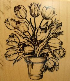 Bucket Tulip Flowers Bouquet K-1695 PSX Botanical Pot Mounted Rubber Stamp
