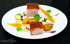 Roast Pork Belly with Fondant Potatoes and Apple Puree