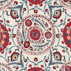 Anthos Fabric An intricately woven jacquard fabric inspired by an Uzbekistani Suzani from the Sanderson archive and shown in red, indigo and aqua on an ecru ground. The hand-crafted feel of the original textile has been beautifully captured resulting in a show-stopping piece.