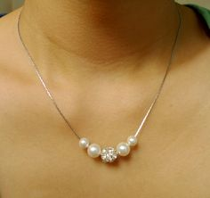 Bridesmaids+Pearl+Necklace+Sparkling+Rhinestone+by+LynJewels,+$15.90