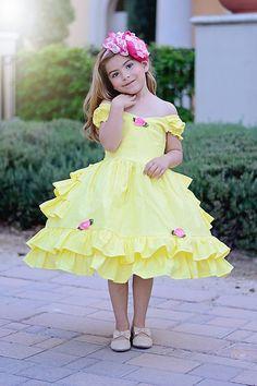 Girls Belle dress by SoSoHippo on Etsy Cute Little Girl Dresses, Dresses Kids Girl, Cute Dresses, Beautiful Dresses, Girl Outfits, Flower Girl Dresses, Baby Girl Frocks, Frocks For Girls, Fashion Kids