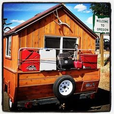 Two of my favorite things - a customized camper and Oregon!    Man Converts Pop Up Trailer into Micro Cabin on Wheels Photo