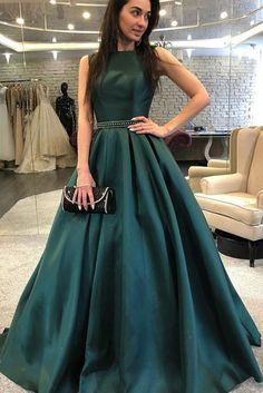 Elegant Prom Dresses, A-Line Bateau Backless Sweep Train Dark Green Prom Dress with Beading Pleats Shop for La Femme prom dresses. Elegant long designer gowns, sexy cocktail dresses, short semi-formal dresses, and party dresses. Fancy Prom Dresses, Dark Green Prom Dresses, Backless Prom Dresses, A Line Prom Dresses, Dress Prom, Dress Long, Long Dresses, Homecoming Dresses, Emerald Green Evening Dress