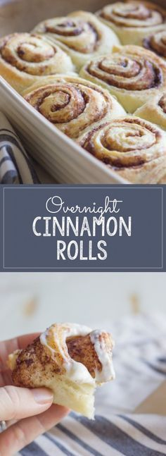 Overnight Cinnamon Rolls With Cream Cheese Frosting - make them the night before and bake them in the morning! Overnight Cinnamon Rolls With Cream Cheese Frosting - make them the night before and bake them in the morning! Overnight Cinnamon Rolls, Homemade Cinnamon Rolls, Cinnamon Bread, Quick Cinnamon Rolls, Cinnamon Roll Dough, Homemade Buns, Cinnamon Recipes, Baking Recipes, Pastries