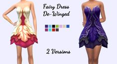 """christmasfear: """" Fairy Dress De-Winged This is my mesh edit of the Fairy dress from the Spooky Stuff pack. I removed the wings and enabled it for party wear and formal. This comes in two versions- one. The Sims, Sims 4 Cas, Sims Cc, Sims 4 Wedding Dress, Maxis, Sims 4 Clothing, Woman Clothing, Sims 4 Dresses, Play Sims"""