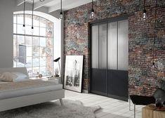 Chambre adulte : porte de placard 2 vantaux style atelier (modèle Factory Manhattan) Manhattan, Divider, Room, Furniture, Home Decor, Style, Closet Solutions, Sliding Door, Puertas