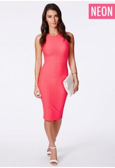 """Work the texture trend this season in this wonderful midi dress. Enhance your curves in this sleek fitting number. Looks super sweet teamed with a pair of heels, an envelope clutch and red lips.  Approx length 100cm/39"""" (Based on a UK siz..."""