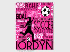 Soccer Typography Print, 8x10 Art, Perfect Sporty Girls Room Art, You Choose the Colors, Makes a Great Gift for any Soccer Lover shown in pink, black and white