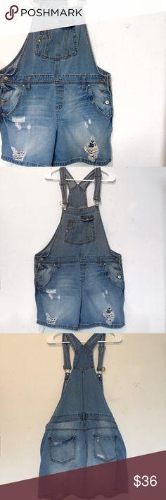 "Vintage Distressed Shortalls Hello summer! Perfect vintage distressed shortalls. Size XL. 21"" across at the waist. Vintage Pants Jumpsuits & Rompers"