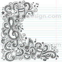 Music Notes Sketchy Doodle Vector Illustration by blue67design