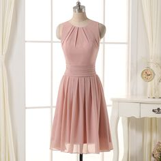 2016 Boho Chic Short Blush Chiffon Bridesmaid Dresses with Open Back for Sale…