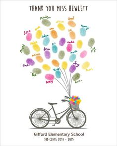 Personalized School Teacher Appreciations Gİft, Fingerprint Tree with bicycle, Printable JPEG, Kindergarten Gift, End of Year, Customizable by CustombyBernolli on Etsy