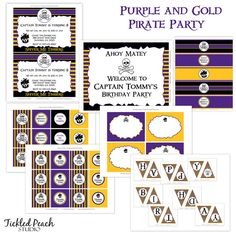 Argh! Party invitation, water bottle wraps, banner, and more!