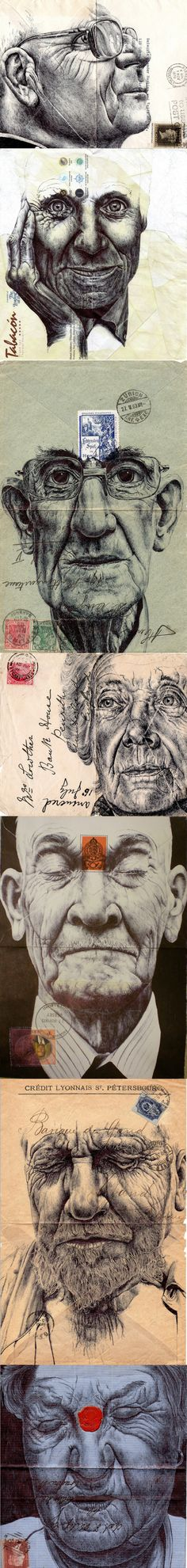 Mark Powell faces on vintage envelopes Biro Art, Biro Drawing, A Level Art Sketchbook, Gcse Art, Letter Art, Mail Art, Traditional Art, Art Inspo, New Art