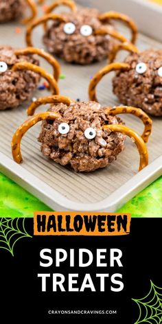 Rice Krispie Treat Spiders and a quick ad easy Halloween treat made with Cocoa Krispies cereal, marshmallows, butter, and pretzels.