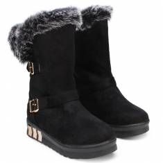 Women Sweet Artificial Rabbit Hair Buckle Flat Mid-Calf Snow Boots