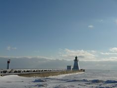 Two lighthouses in winter, at the mouth of the harbour. Photo by E. Lighthouse Festival, Norfolk County, Lake Erie, Lighthouses, Ontario, School Stuff, Countryside, Tourism, Landscapes
