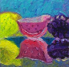 """30 Paintings in 30 days: Day 25: """"Reflections - Jolly Rancher Gummies - 2"""", 6 x 6 inches, Oil on Canvas Panel Available here: https://www.etsy.com/shop/preranap Happy New Year Everyone!"""