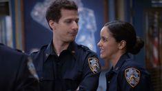 Jake & Amy, Brooklyn Nine Nine Brooklyn Nine Nine Funny, Brooklyn 9 9, Andy Samberg, Melissa Fumero, Movie Couples, Cute Couples, Series Movies, Tv Series, Favorite Tv Shows