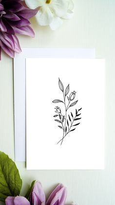High quality printed flowers greeting card with blank inside for your greetings, congratulations and more. You will receive a white envelope for the greeting card. Bouqets, White Envelopes, Line Drawing, Flower Prints, Congratulations, Greeting Cards, Drawings, Flowers, Etsy