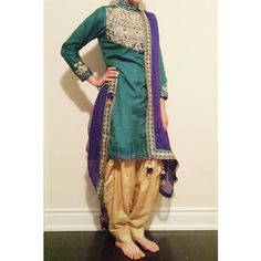 it was a pleasure customizing this beautiful tri-colored punjabi-salwar suit! deets : embellished with a heavy neckline; sequenced with pearl work & hand threaded embroidery in teal, cream and royal...
