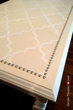 DIY Stencil Nailhead Coffee Table. My coffee table is in desperate need of a makeover