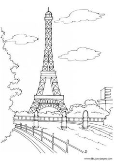 painting outline for mural paris eiffel tower - Paris Eiffel Tower Coloring Pages