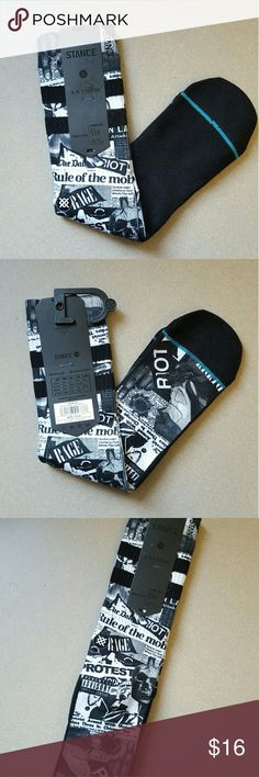 Stance Dope Socks - L Brand new with tags Stance Socks - Size Large.  These socks are DOPE! Black with protest slogans/headlines in white. Protest down to your toes in a pair of these.  Only 1 pair available, so grab em up!  As with all Stance socks they feature a reinforced heel and toe.  #StanceSocks #stance #socks #protest #headlines #protestsocks #stancenation Stance Underwear & Socks Casual Socks