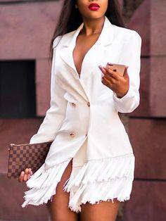 Shop Double-Breasted Tassel Hem Blazer Dress right now, get great deals at Voguelily Blazer Outfits, Blazer Fashion, Blazer Dress, Casual Outfits, Fashion Outfits, Fashion Trends, Sleevless Blazer, Casual Blazer, Women's Fashion