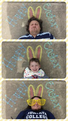 Easter Sidewalk Chalk Card: Draw your message on the sidewalk with chalk, have family members take turns lying down for the photo. Step over them to get a good angle. Add props or funny faces to make it your own. Put in photo collage maker (I used the Photo Grid app) & add a festive boarder!