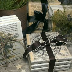 Add your own ribbon, raffia, or rope to personalize your coaster set. Great as gifts for him and her.