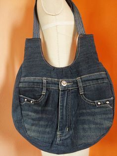 Upcycled Recycled Denim Bag Purse Handicraft by TawanShine on Etsy Diy Jeans, Denim Tote Bags, Denim Purse, Jean Purses, Purses And Bags, Diy Sac, Denim Crafts, Upcycled Crafts, Denim Ideas
