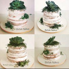 Semi Naked cake com suculentas e frutos exóticos para Mini Wedding!