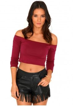 Missguided - Aalia Bardot Crop Top In Burgundy
