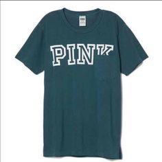 VS Pink Campus Tee! NWT! New with tag! Victoria's Secret pink campus tee, oversized pocket tee. White lettering on dark green/teal T-shirt. Could fit Small or even Medium! PINK Victoria's Secret Tops Tees - Short Sleeve