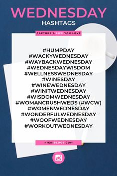 Are you ready for Wednesday? Here are Wednesday hashtags! Save this list of social media hashtags to Social Media Branding, Social Media List, Social Media Content, Social Media Calendar, Digital Marketing Strategy, Social Media Marketing, Content Marketing, Marketing Ideas, Business Marketing