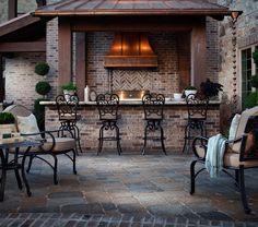 Belgard Mega Bergerac Pavers and Brick Walls for Outdoor Kitchen/Living Area.