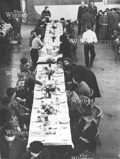 Jewish refugee children from Germany having their first meal in England at Dovercourt camp. Photo from The Wiener Library.