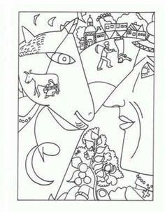 marc chagall coloring pages   Famous Artist Coloring Pages Printable